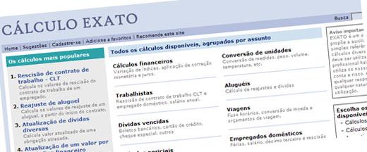 CÁLCULO EXATO - RESCISÃO, FÉRIAS, REAJUSTE DE ALUGUEL, TRABALHISTA - WWW.CALCULOEXATO.COM.BR