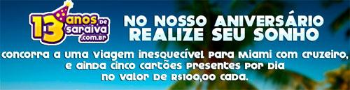 PROMOÇÃO DE ANIVERSÁRIO 13 ANOS SARAIVA