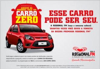 PROMOÇÃO CARRO ZERO, RÁDIO REGIONAL FM - WWW.RADIOREGIONALFM.COM.BR