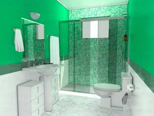 decoracao em banheiro pequeno – Doitricom -> Banheiro Pequeno Branco E Verde