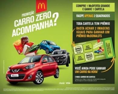 PROMOÇÃO MC DONALDS CARRO ZERO ACOMPANHA?